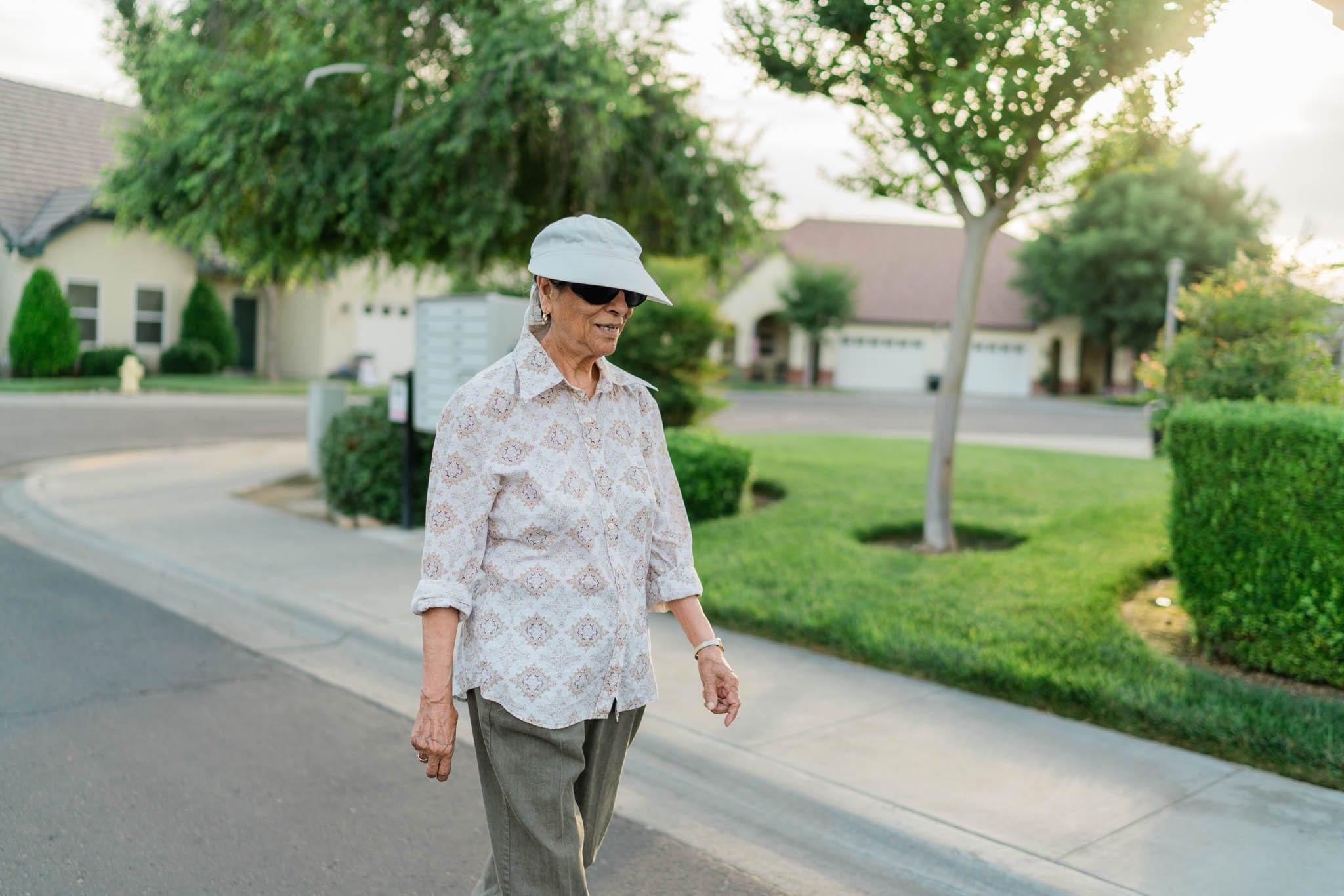 Senior Taking Walk Around Sierra Village