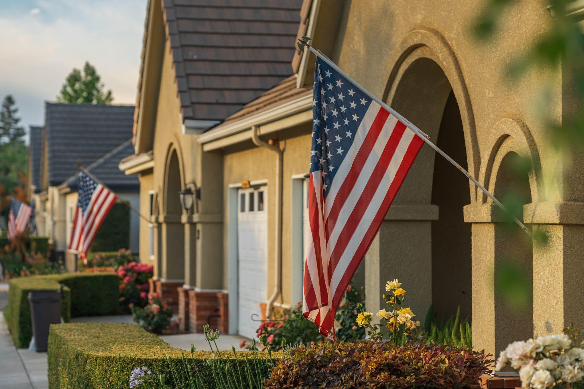 USA Flag on Home at Sierra Village