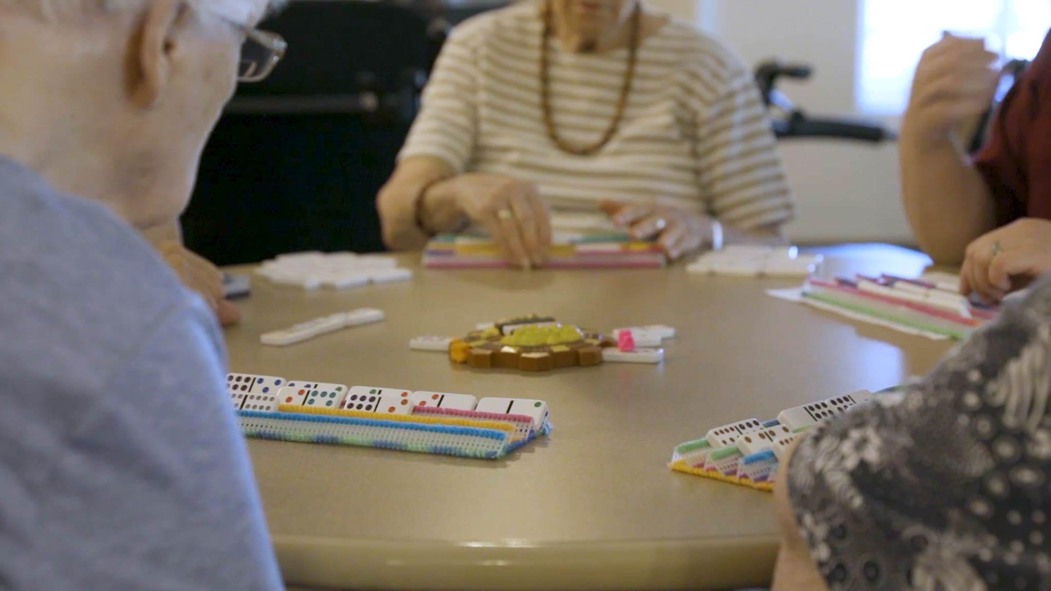 Seniors Playing Games at Sierra Village Facility